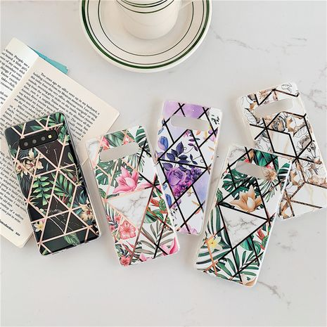 Electroplating splicing marble phone case for Samsung S20 S9plus all-inclusive Note10 s10e A70 soft phone case wholesale  NHFI237424's discount tags