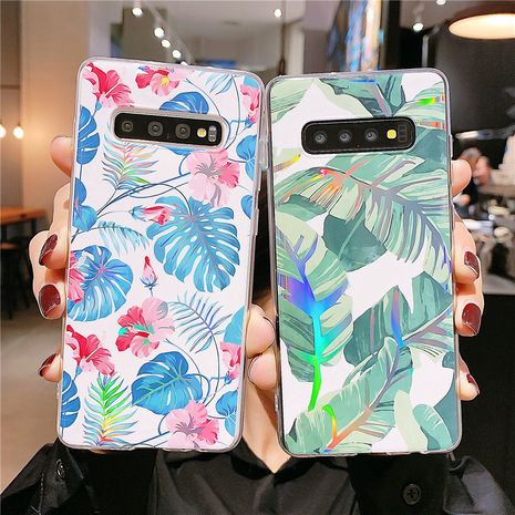 Laser flower banana leaf phone case for Samsung S20 S9plus all-inclusive Note10 s10e A70 soft phone case NHFI237425's discount tags