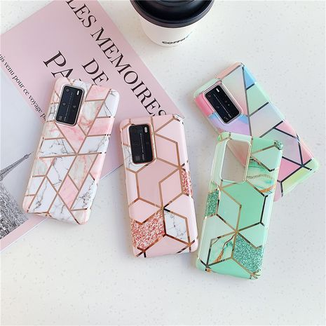 Electroplating splicing marble phone case for Samsung S20/S9plus all-inclusive Note10/s10e/A70 phone case wholesale  NHFI237426's discount tags