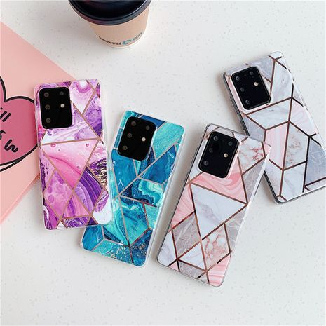 Electroplating splicing marble phone case for Samsung S20 S9plus all-inclusive Note10 s10e A70 soft phone case wholesale NHFI237429's discount tags