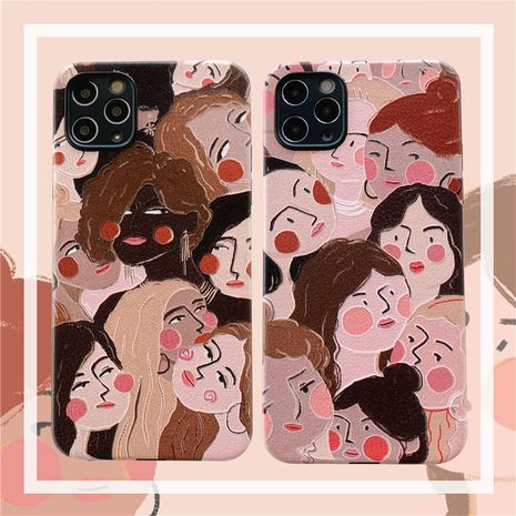 Fashion oil painting girl embossed silk phone case for iPhone11pro silicone apple se2 female P40Pro phone case NHFI237437's discount tags