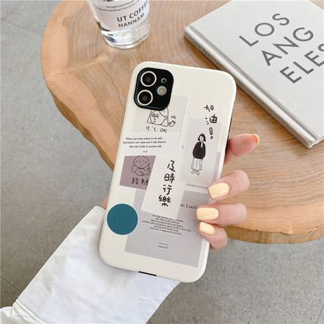 Funda de teléfono de texto de moda para iPhone11 / pro silicona de seda en relieve Apple se2 soft shell wholesale nihaojewelry NHFI237440's discount tags