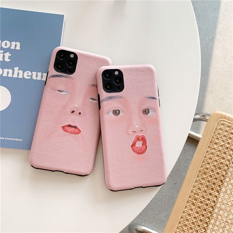 Fashion Funny selfie expression mobile phone case  Apple 11proXSMax silk pattern soft shell p40pro P30 couple mobile phone case NHFI237443's discount tags