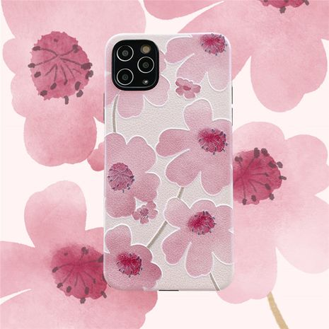 Pink watercolor flower phone case for iPhone11pro/max silicone Apple XS/XR/se2 Huawei P40Pro phone case  NHFI237448's discount tags