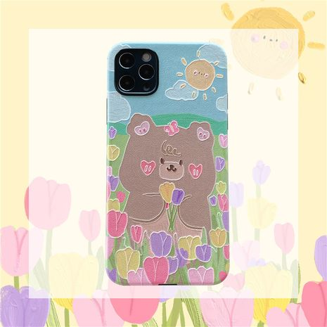 Fashion flower bear mobile phone case for iPhone11/XR silicone silk embossed apple se2  P40 phone case NHFI237450's discount tags