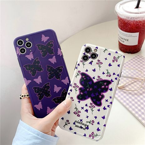 Fashion Purple flowers and butterflies iPhone11/Promax mobile phone case for Apple 8plus silicone SE2/P40Pro nihaojewelry NHFI237452's discount tags