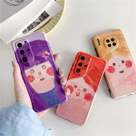 Cartoon oil painting girl iPhone11/Promax mobile phone case for Apple 8plus silicone SE2/P40Pro phone case NHFI237453's discount tags