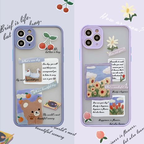 Fashion Korean wind bear illustration sunflower 11Promax Apple se2 mobile phone case for iPhone8plus  NHFI237458's discount tags