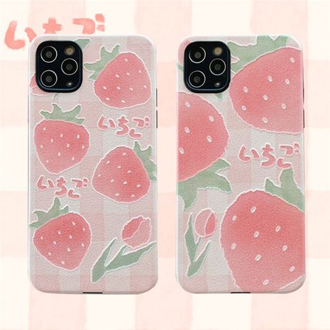 Fashion Small fresh strawberry silk mobile phone case for iPhone11pro silicone Apple XS XR se2   P40Pro phone case wholesale  NHFI237459's discount tags