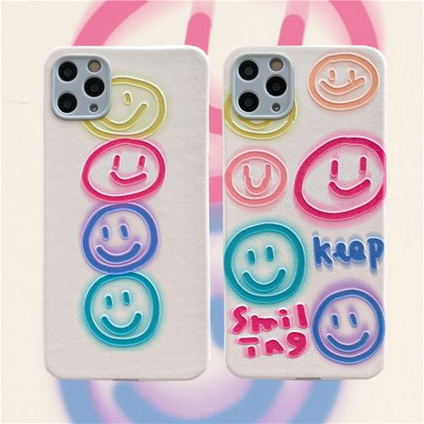 Fashion cute Smiley emoticon graffiti phone case for iPhone11 pro silicone silk embossed Apple se2  P40 phone case wholesale   NHFI237460's discount tags