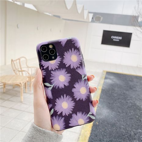 Purple daisy for Apple 11pro mobile phone case iPhoneXSMax silk pattern soft shell 7/8plus phone case wholesale  NHFI237464's discount tags
