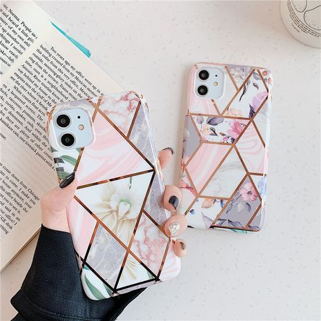 Simple pink and white geometric floral electroplating soft shell suitable for Apple 11Pro /xsmax/8plus all-inclusive protection 6s NHFI237465's discount tags
