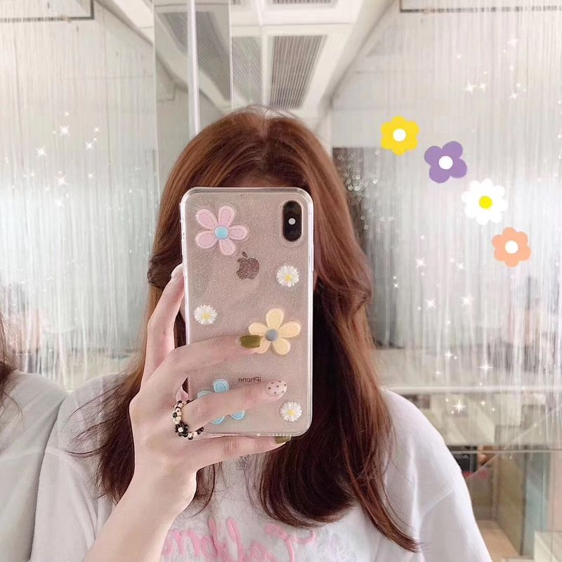 Fashion Korean style daisy iphone8plus mobile phone case for Apple x xr xs max 7 6s Epoxy phone case wholesale    NHFI237467