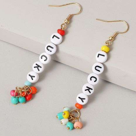 long earrings LUCKY letter beaded earrings handmade earrings jewelry NHLA237477's discount tags