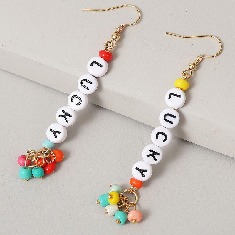 long earrings LUCKY letter beaded earrings handmade earrings jewelry NHLA237477