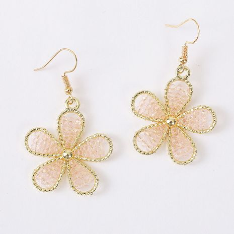 Korean cute hand-woven transparent crystal flower earrings trend earrings jewelry wholesale nihaojewelry NHLA237479's discount tags