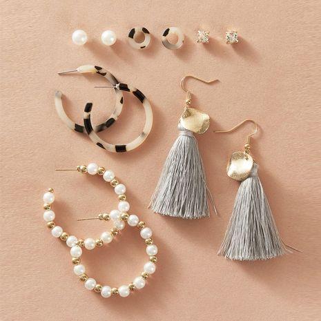 vente chaude boucles d'oreilles pompon perles ensemble 6 paires de boucles d'oreilles simples rétro créatives en gros nihaojewelry NHPJ237484's discount tags