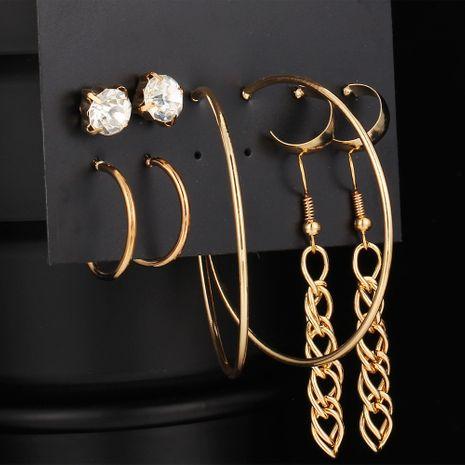 nouveau cercle boucles d'oreilles pompon diamant ensemble 4 paires de boucles d'oreilles créatives en alliage d'or en métal en gros nihaojewelry NHYI237489's discount tags