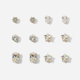 hot-selling geometric zircon 6 pairs of earrings set creative retro simple embedded diamond earrings wholesale nihaojewelry NHYI237491's discount tags