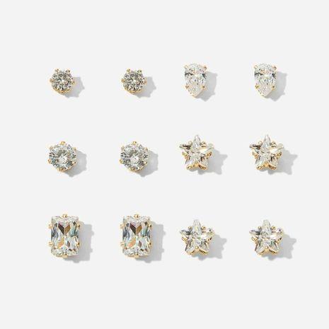 vente chaude zircon géométrique 6 paires de boucles d'oreilles ensemble créatif rétro simple boucles d'oreilles en diamant intégré en gros nihaojewelry NHYI237491's discount tags
