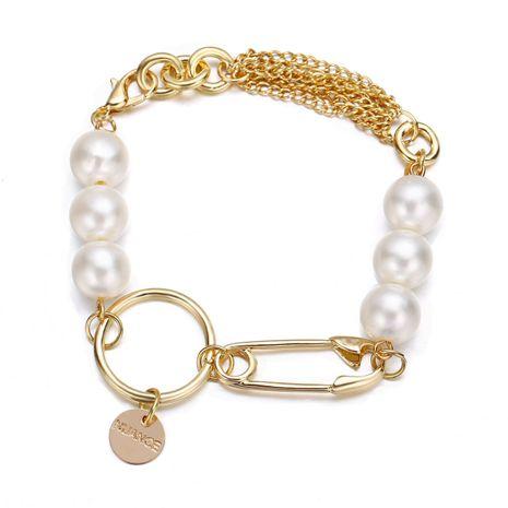 Nueva perla de metal clip de papel círculo pulsera creativa retro simple pulsera de aleación al por mayor nihaojewelry NHYI237493's discount tags