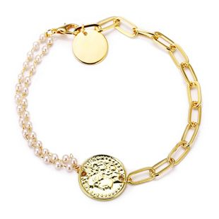 new creative small pearl portrait bracelet retro simple alloy metal gold chain bracelet wholesale nihaojewelry NHYI237495's discount tags