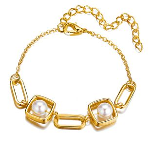 retro new creative geometric metal pearl bracelet simple alloy gold bracelet wholesale nihaojewelry NHYI237497's discount tags