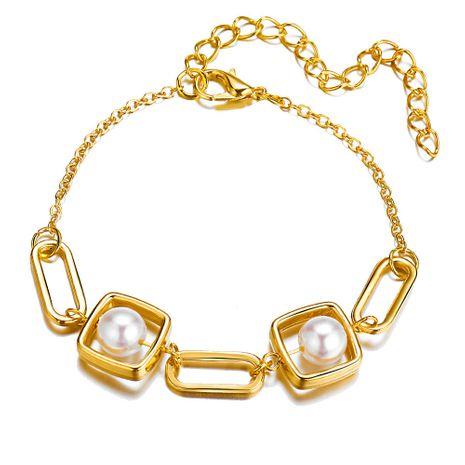 Retro nuevo creativo geométrico pulsera de perlas de metal aleación simple pulsera de oro al por mayor nihaojewelry NHYI237497's discount tags