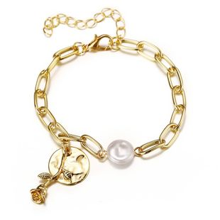 new creative pearl disc rose flower bracelet retro metal alloy chain bracelet wholesale nihaojewelry NHYI237498's discount tags