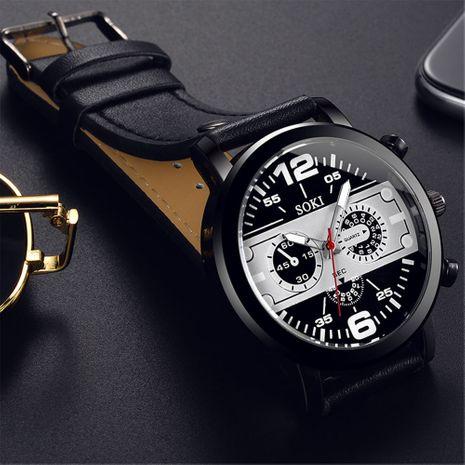 Reloj de cuarzo con cinturón de tres ojos de moda concha negra reloj deportivo de cuarzo de gran dial al por mayor nihaojewelry NHSS237534's discount tags