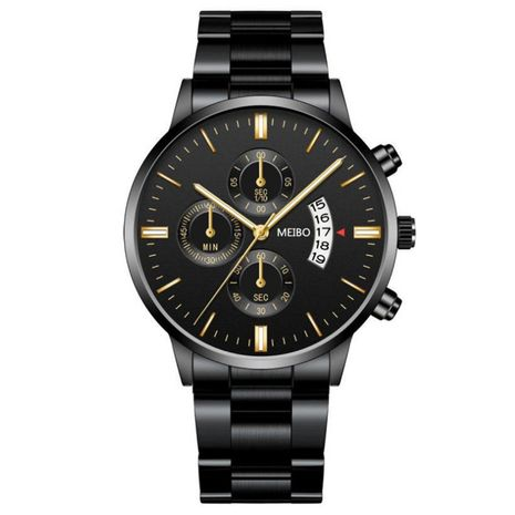 Reloj de pulsera de acero con esfera grande para hombre, reloj de negocios de cuarzo con calendario de tres ojos de estilo británico, nihaojewelry al por mayor NHSY237542's discount tags