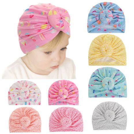 automne nouveaux chapeaux pour enfants bébé imprimé beignet turban chapeau bébé capuche rayée en gros nihaojewelry NHHV237634's discount tags