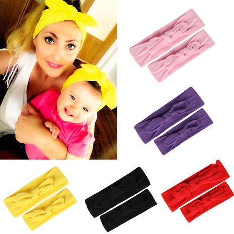 Mother baby rabbit ears hair accessories headband knotted bow hairband hairband parent-child stretch cotton headband wholesale NHHV237638's discount tags