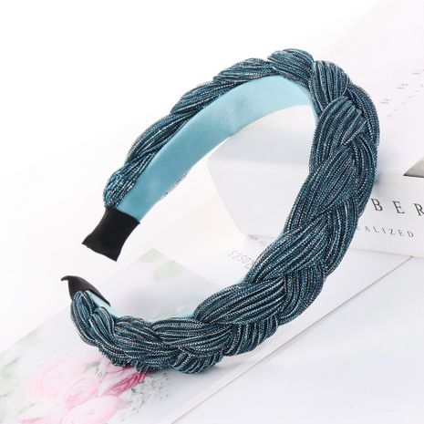 Korean hair band thick bright silk cloth wide edge hairpin braid knotted headband wholesale nihaojewelry NHHV237643's discount tags