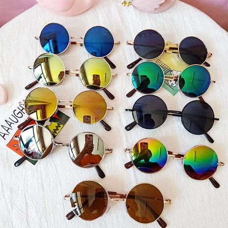 Korean Colorful Round Frame Sunglasses Fashion Retro Glasses Metal Prince Trend wholesale nihaojewelry NHBA237691's discount tags