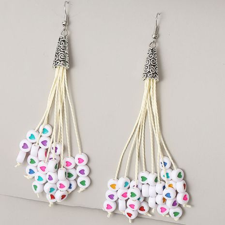 long love beaded tassel earrings for women creative ancient silver needle earrings jewelry NHLA237707's discount tags