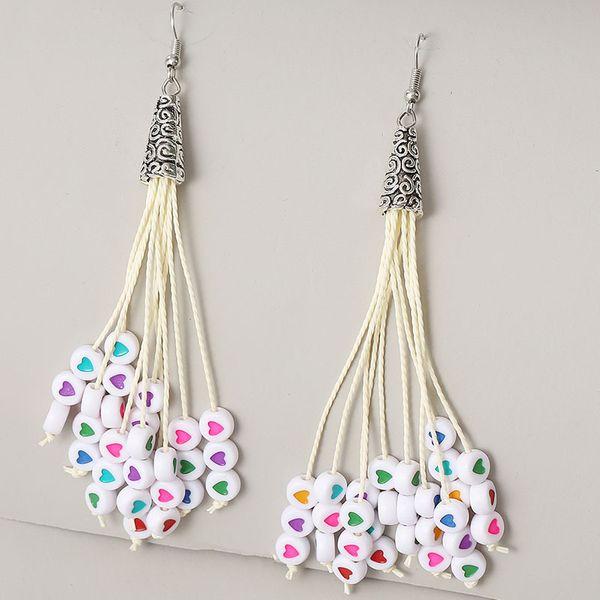 long love beaded tassel earrings for women creative ancient silver needle earrings jewelry NHLA237707