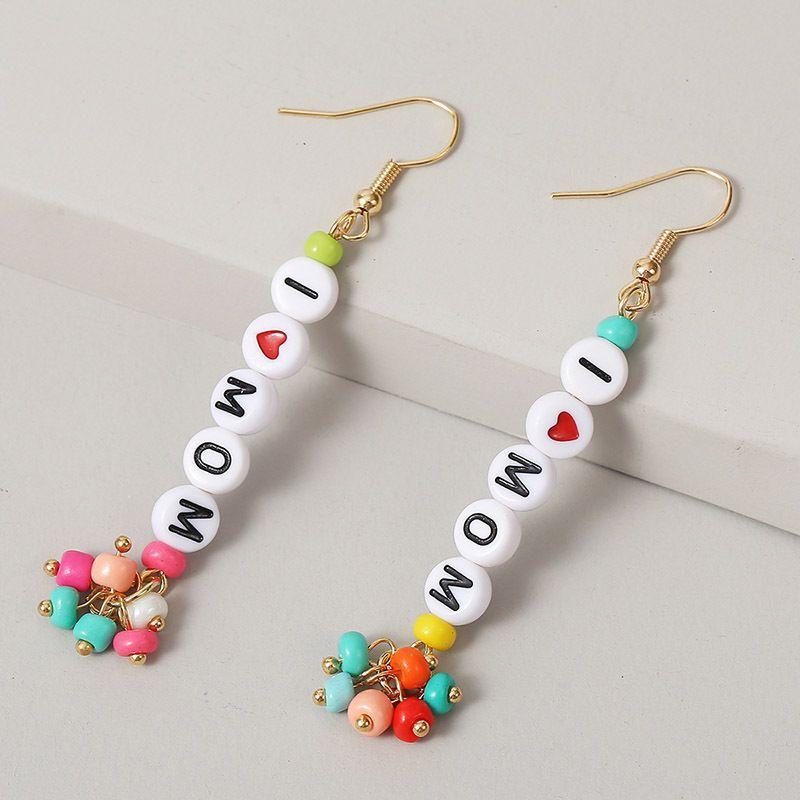 long earrings handmade love rice beads letter earrings beaded earrings jewelry NHLA237708