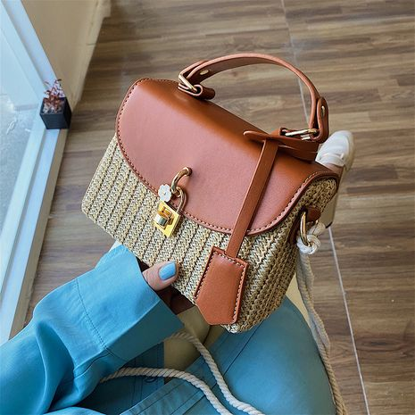 Fashion Straw portable small square bag summer new women's bag fashion messenger bag woven beach shoulder bag NHGA237851's discount tags