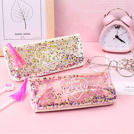Fashion Korean zipper pencil case stationery bag tassel girl heart sequin pencil case new wholesale nihaojewelry NHBN237963's discount tags