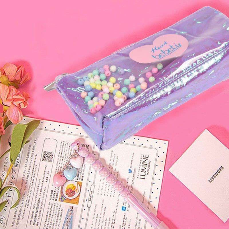 Fashion new Korean girl sequin storage bag beads laser pencil case transparent cute bag wholesale nihaojewelry NHBN237964