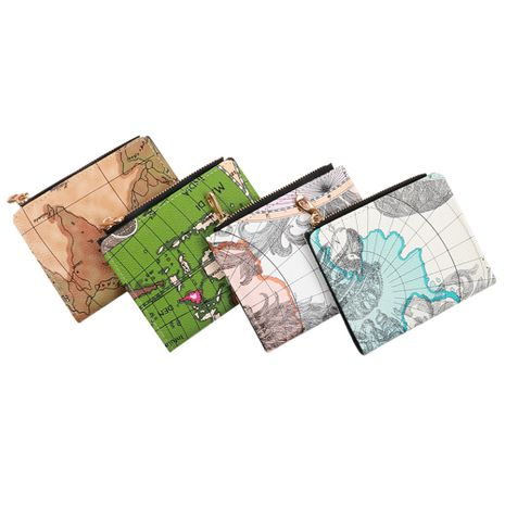 Korean new retro buckle all-match wallet for student map multi-card zipper bag ladies short wallet nihaojewelry NHBN237971's discount tags