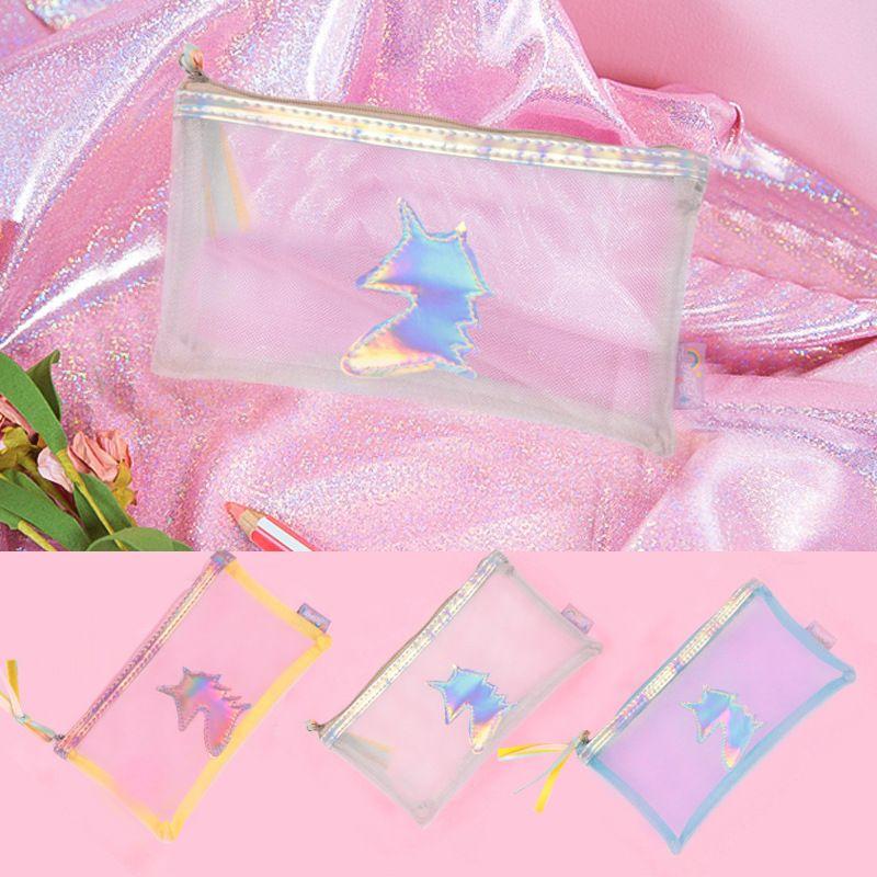 Korean unicorn mesh pencil case color student pencil case cute girl heart tassel storage box wholesale nihaojewelry NHBN237974