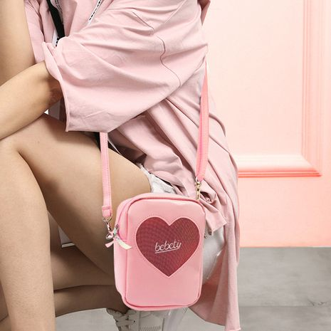 Korean diamond love crossbody bag Harajuku style laser transparent bag women's single shoulder bag vibrato cross-border bag NHBN237976's discount tags