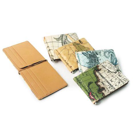 Coreano simple nuevo patrón de mapa de billetera de cuero clip de oro monedero unisex titular de la tarjeta multifuncional nihaojewelry NHBN237977's discount tags