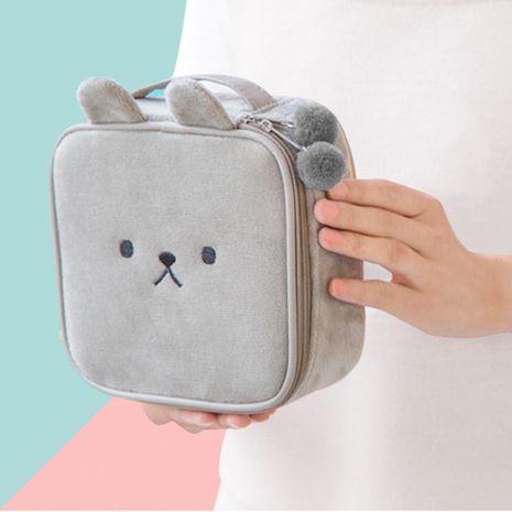 Bolso cosmético de moda para mujer bolsa de embrague con cremallera cuadrada de gran capacidad felpa lindo animal bordado bolsa de almacenamiento en forma de conejo NHBN237979's discount tags