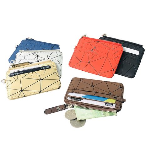 New Korean fashion coin wallet purse checkered coin bag zipper wallet multi-card slot short card bag nihaojewelry NHBN237981's discount tags