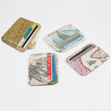 Cartera de tarjeta de moda nueva Tarjeta de patrón de mapa coreano titular de tarjeta bancaria titular de tarjeta monedero mini monedero titular de tarjeta pequeño NHBN237982's discount tags
