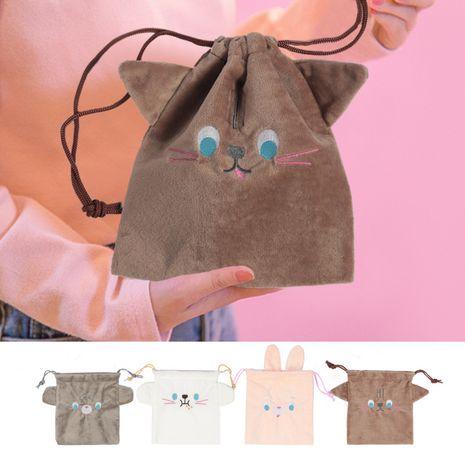 Fashion new Korean animal drawstring bag jewelry drawstring pocket cosmetic bag flannel cute storage bag nihaojewelry NHBN237983's discount tags