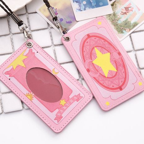 New animation fashion card wallet cartoon bus card holder work permit badge card holder leather braided lanyard  NHBN237985's discount tags